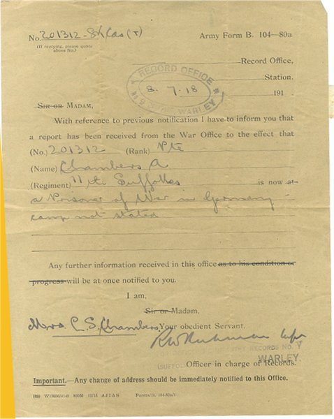 Alf Chambers - prisoner of war notification AR.jpg