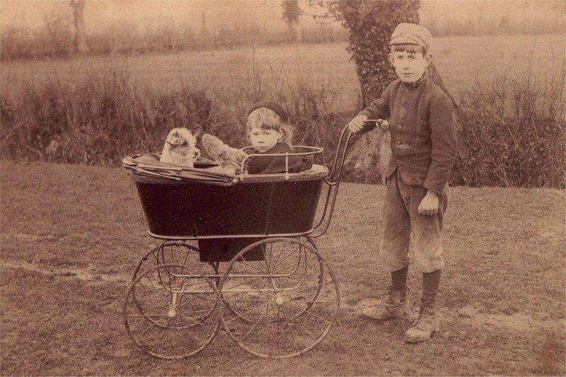 annie copping in pram with brother albert.jpg
