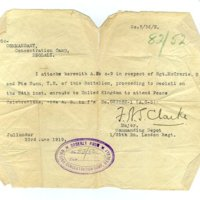 GN note from Jullundur to Commandant at Deolali Concentration Camp re Pte T H Nunn dd1919.jpg