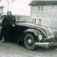 Barnes Farm Mrs Ryan, dog and car.jpg