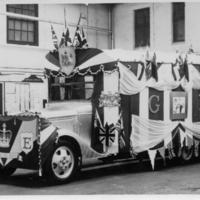 Ipswich Cattle Market - bus dressed ready for the Coronation Parade